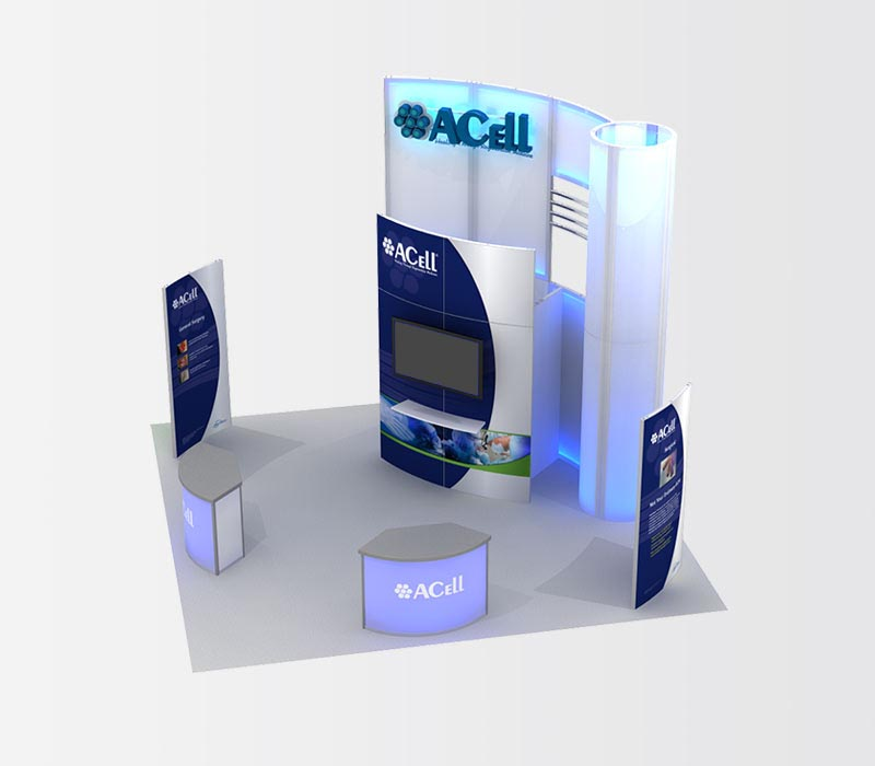 Acell 20x20 Island Trade Show Exhibit Rental