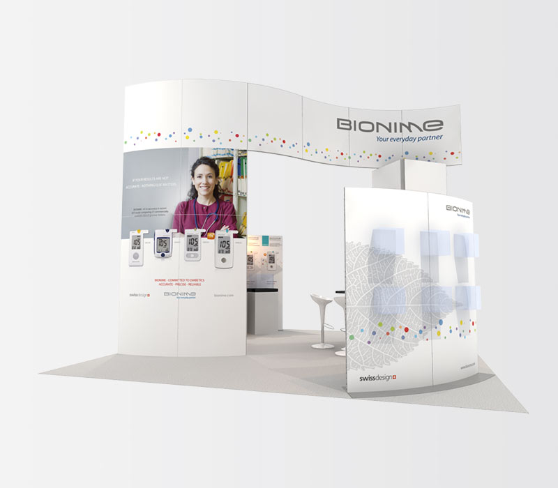 Bionime 20x20 Trade Show Booth Rental Front