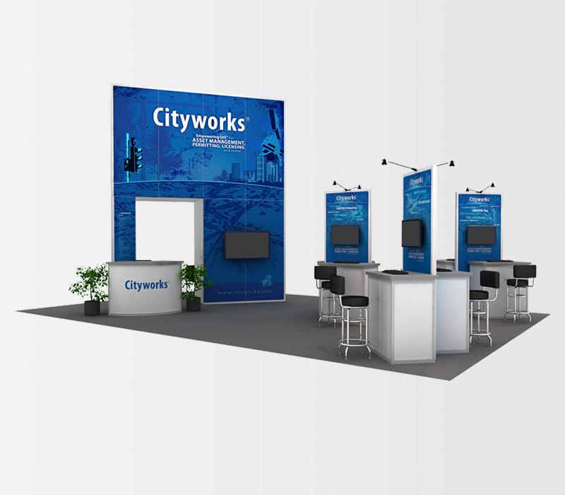 Cityworks 20x30 Island Trade Show Exhibit Rental