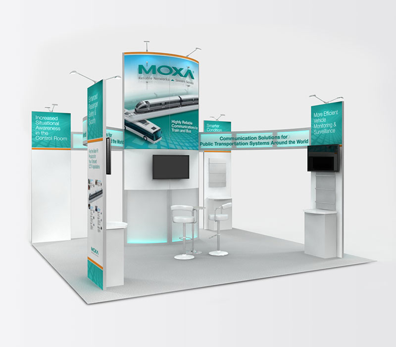 Moxa 20x20 Island Trade Show Display Rental