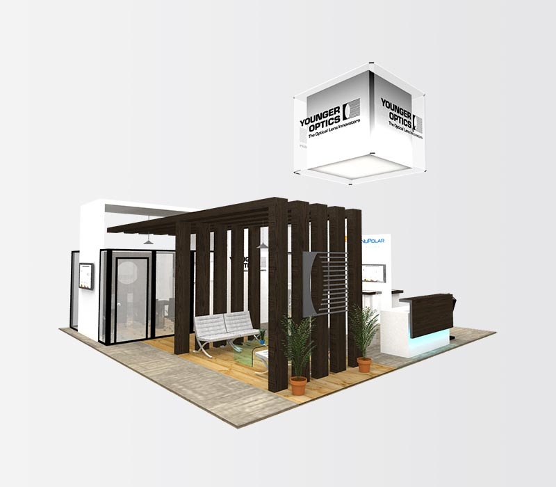 YoungerOptics 40 x 40 Island Exhibit Booth Rental Left
