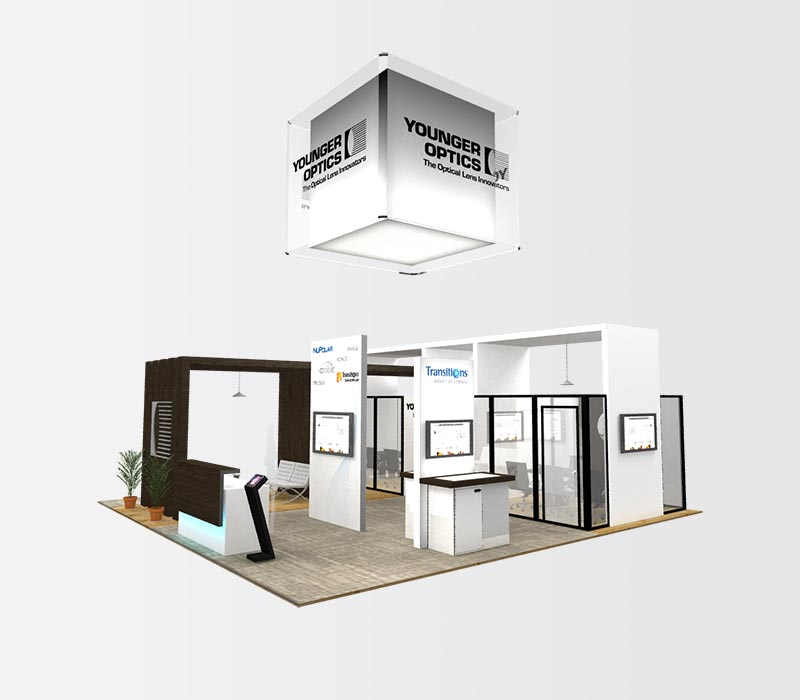 YoungerOptics 40 x 40 Island Exhibit Booth Rental