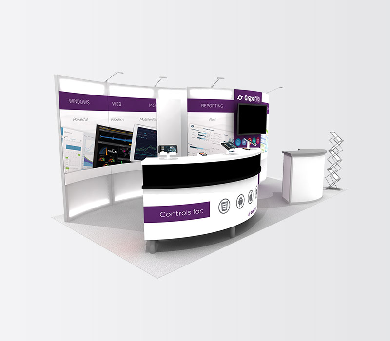 GrapeCity 10x20 Inline Exhibit Booth Rental Left