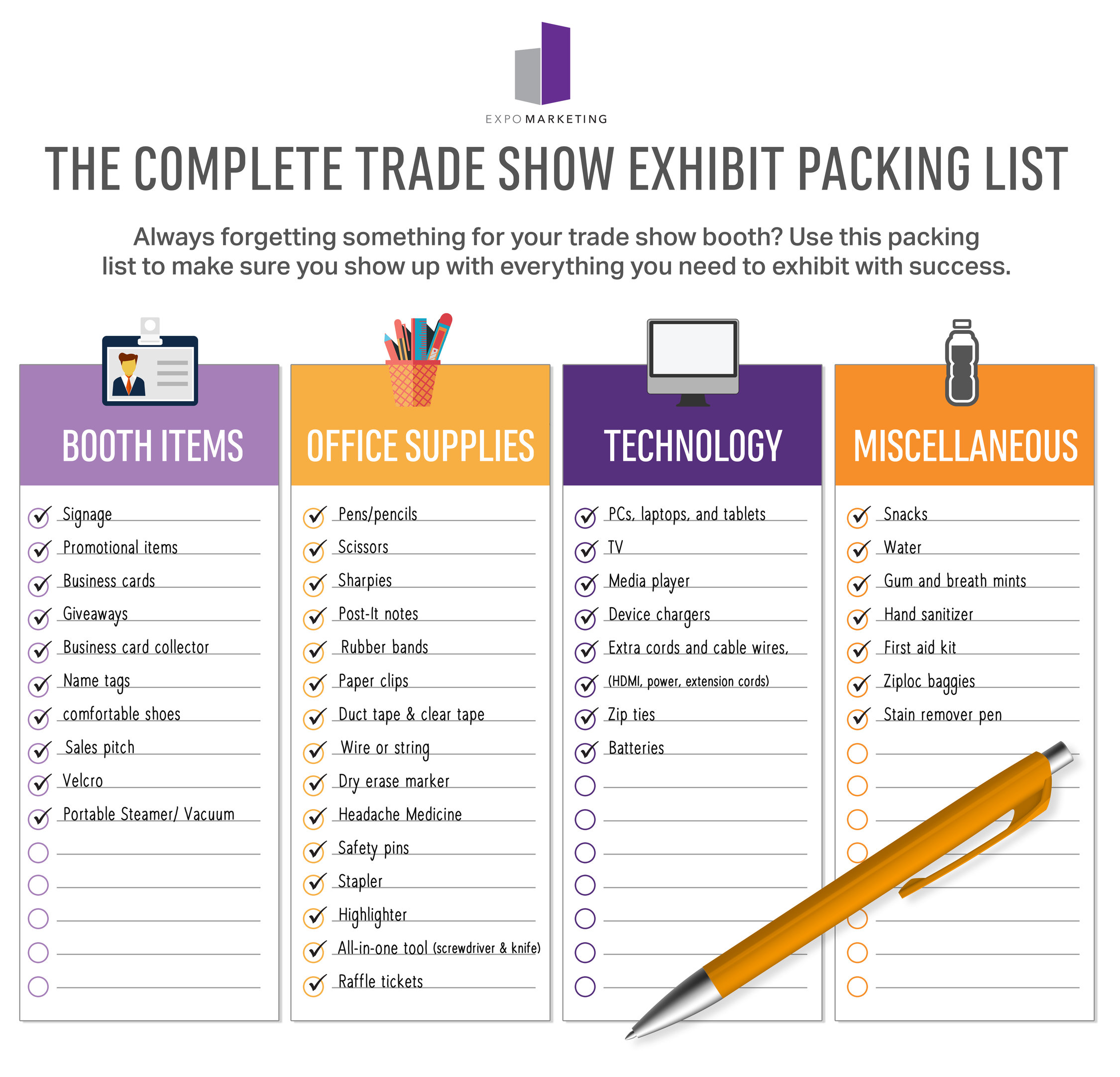 The Complete Trade Show Exhibit Packing List Infographic