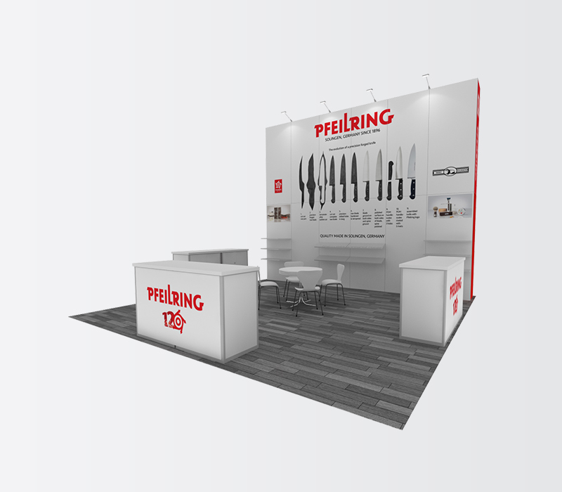 pfeilring housewares 20x20 trade show booth rentals