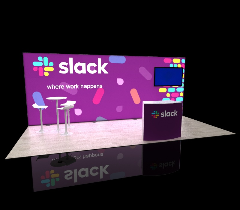 20x8 backlit trade show display with monitor