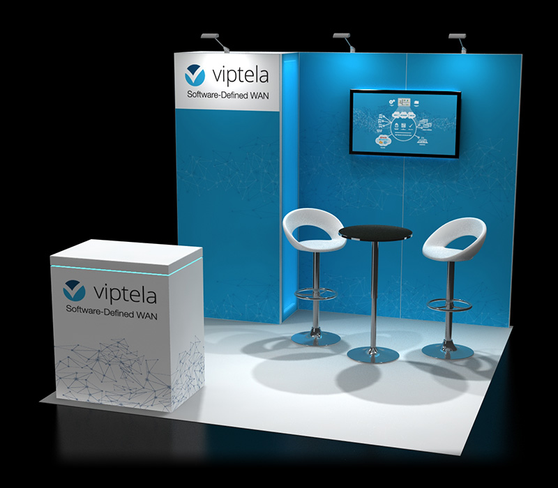 Custom trade show booth with seating options
