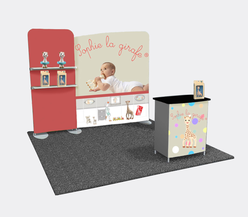 Custom Portable Fabric Booth with Product Display Shelves