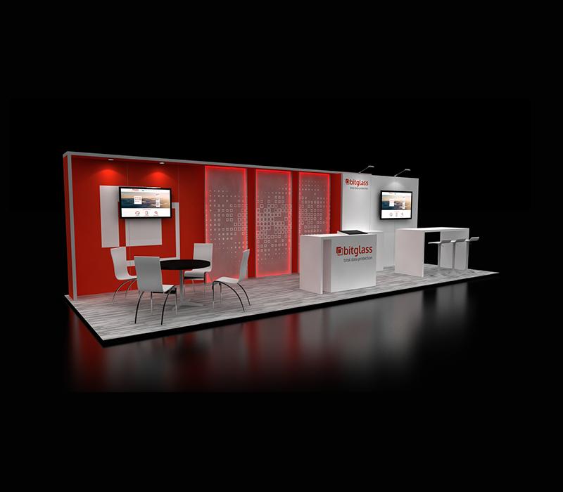 Custom 10 x 30 Side View Booth