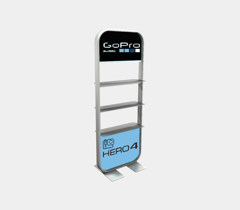 Customizable shelving with options to add more shelves for your trade show booth