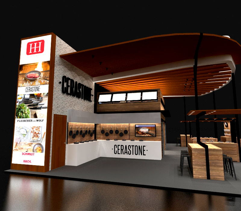 40x50 Custom Trade Show Booth with wood beams
