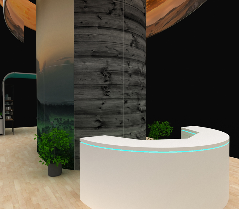 Custom Trade Show Booth with LED Lit Reception Desk