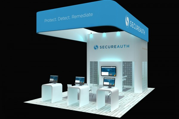 secureauth 20 x 30 head turning trade show booth design and layout ideas - Photo Booth Design Ideas