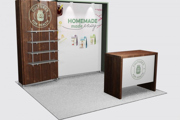 10x10 Portable custom booth with shelves