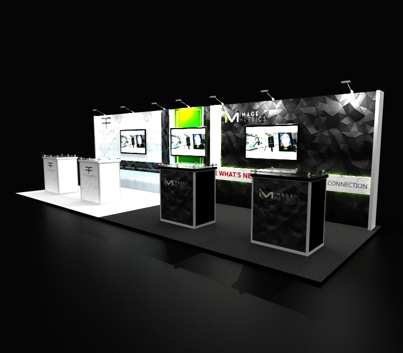 Faceware Tech 10 x 30 Trade Show Display with Demo stations