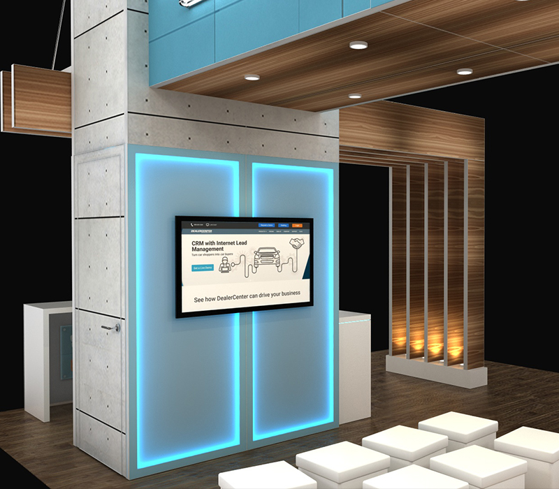 20x20 trade show booth with accent lighting