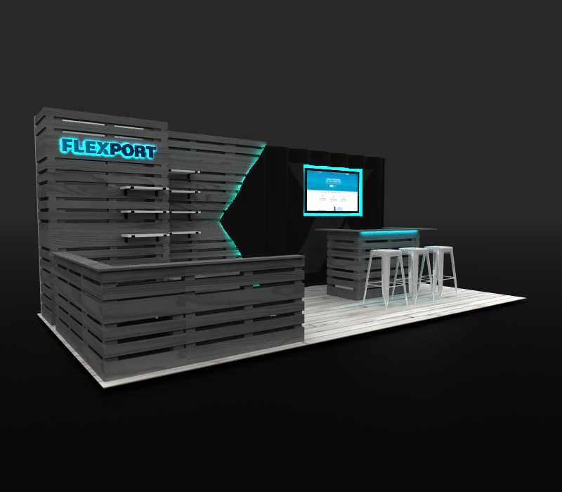 lounge-style inline booth 10 x 20