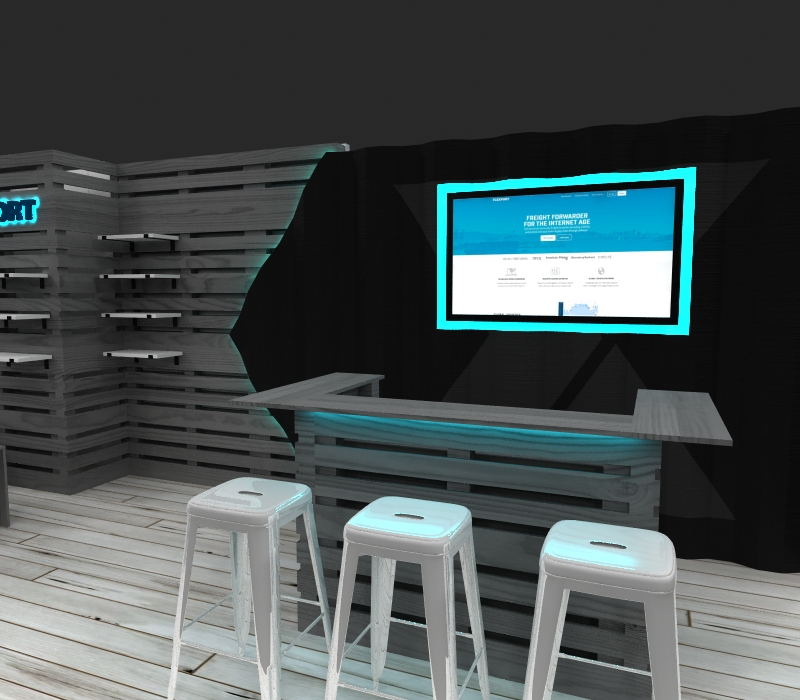 lounge-style inline booth bar counter