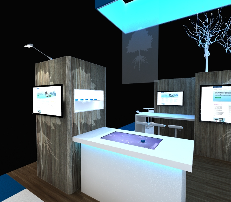 custom trade show exhibit with tech