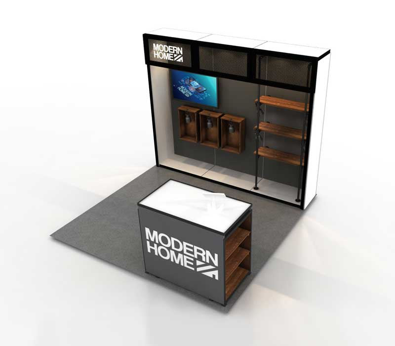trade show booth with wood fixtures