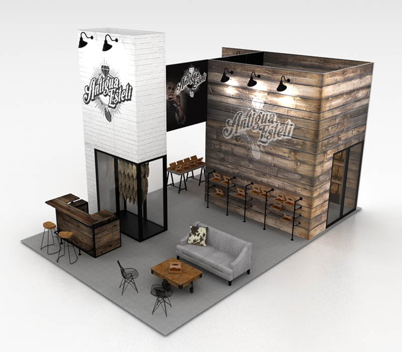 custom island trade show display