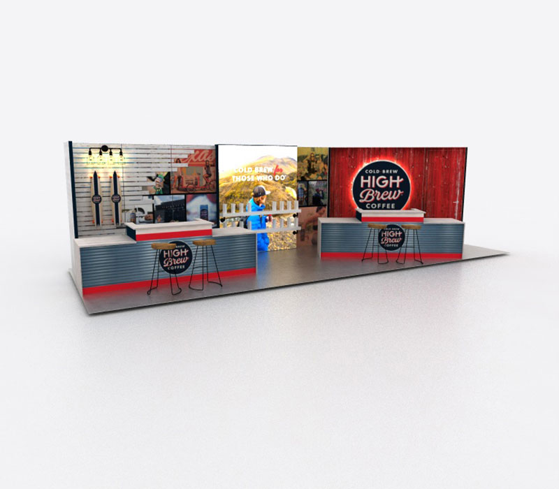 Custom coffee bar trade show booth