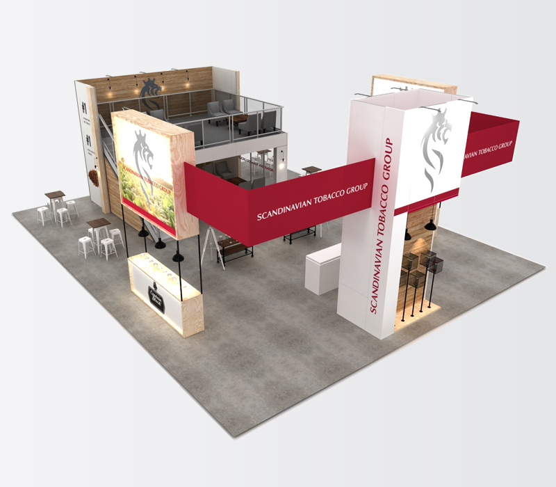 Custom double deck trade show booth