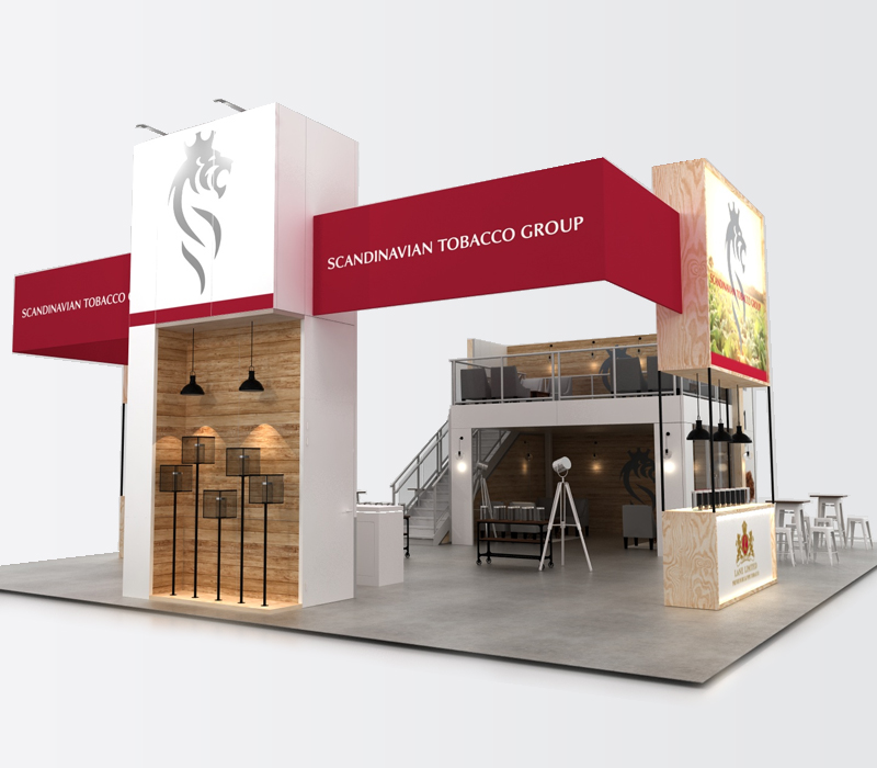 Custom double deck trade show display