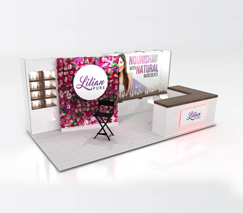 beauty products custom booth
