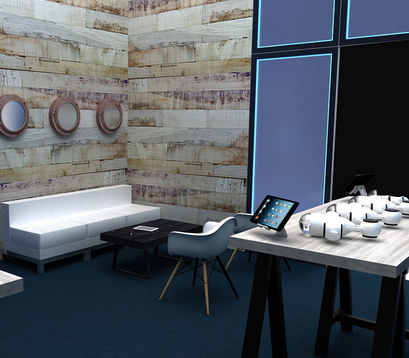 custom booth and lounge area