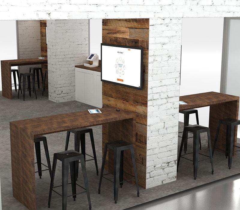 wood and white brick trade show display