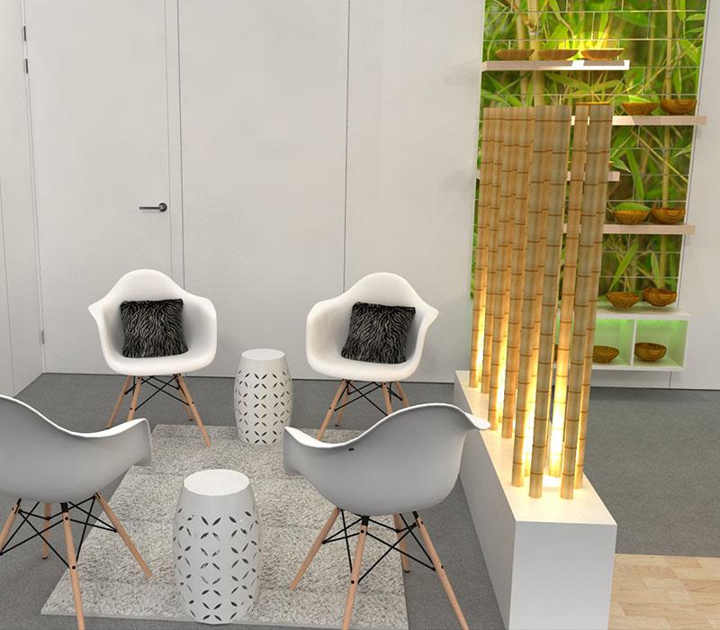 custom inline trade show display lounge area