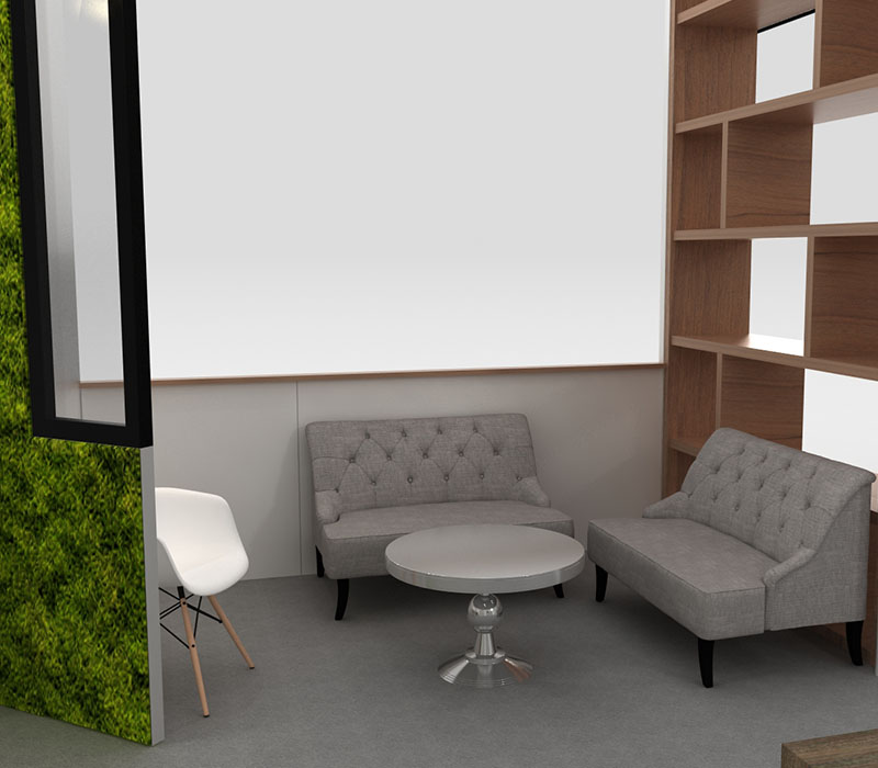 foodservice trade show display seating area