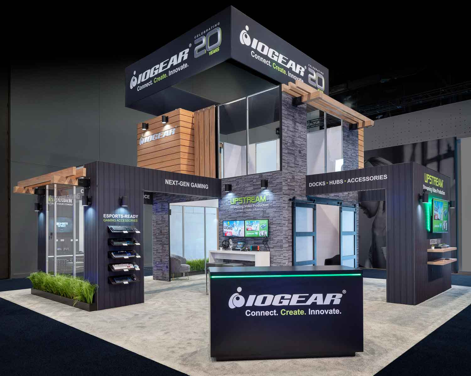 CES custom trade show display with wood accents