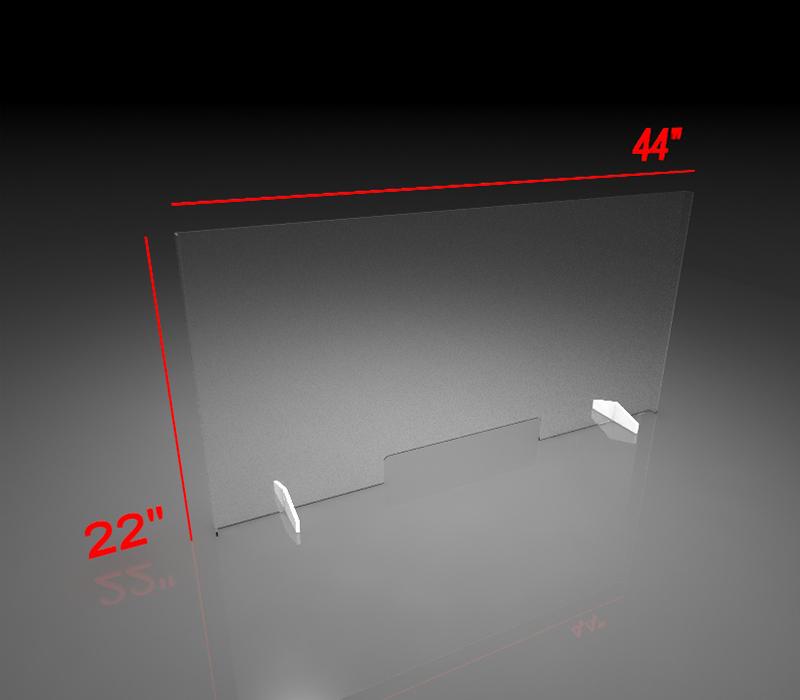 22x44 Inch Clear Acrylic Plexiglass Sneeze Guard with bank slot