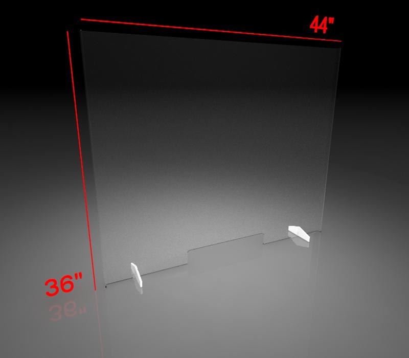 36x44 Inch Clear Acrylic Plexiglass Sneeze Guard with bank slot
