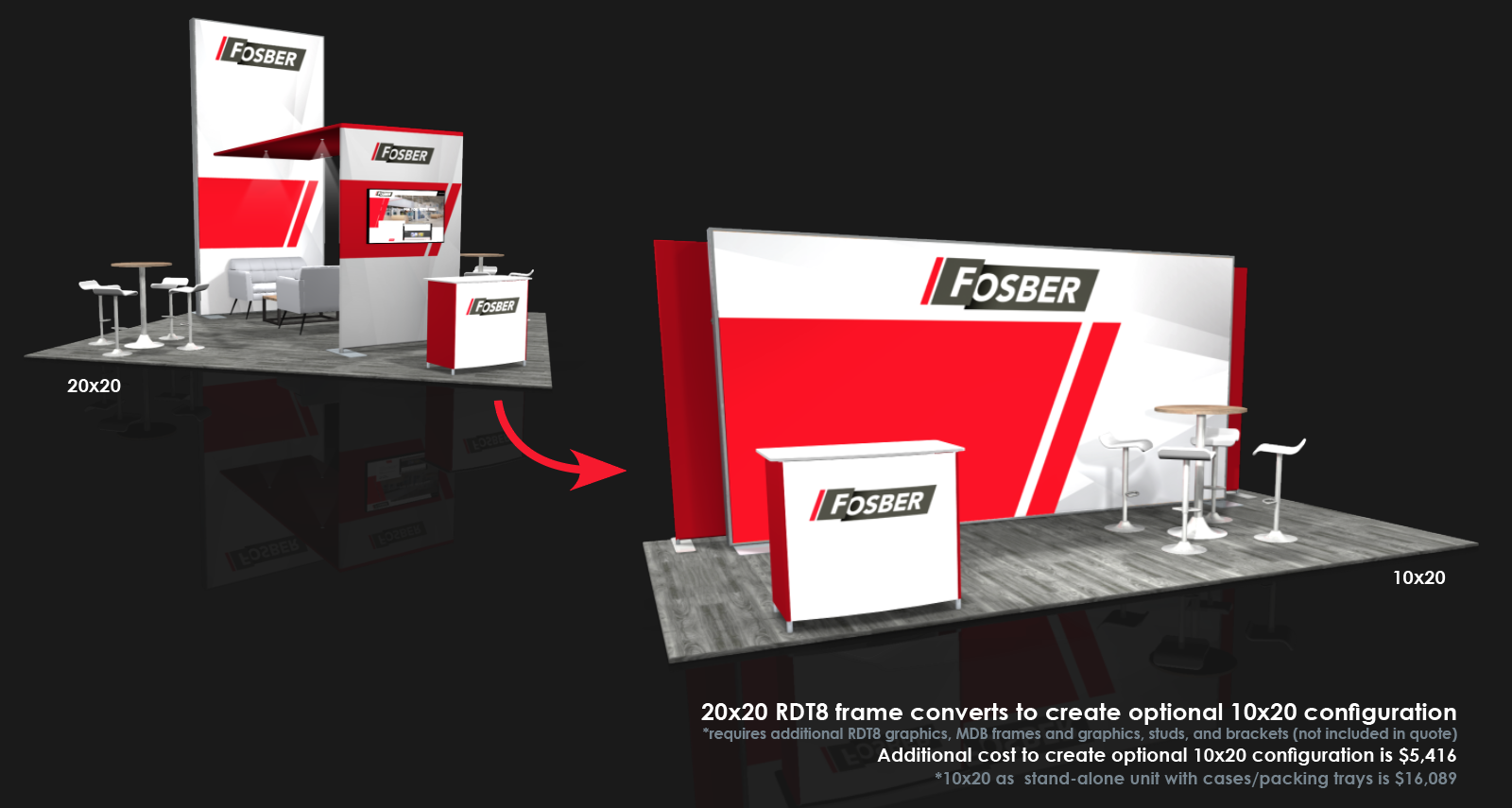 custom modular 20x20 converts to 10x20 trade show display