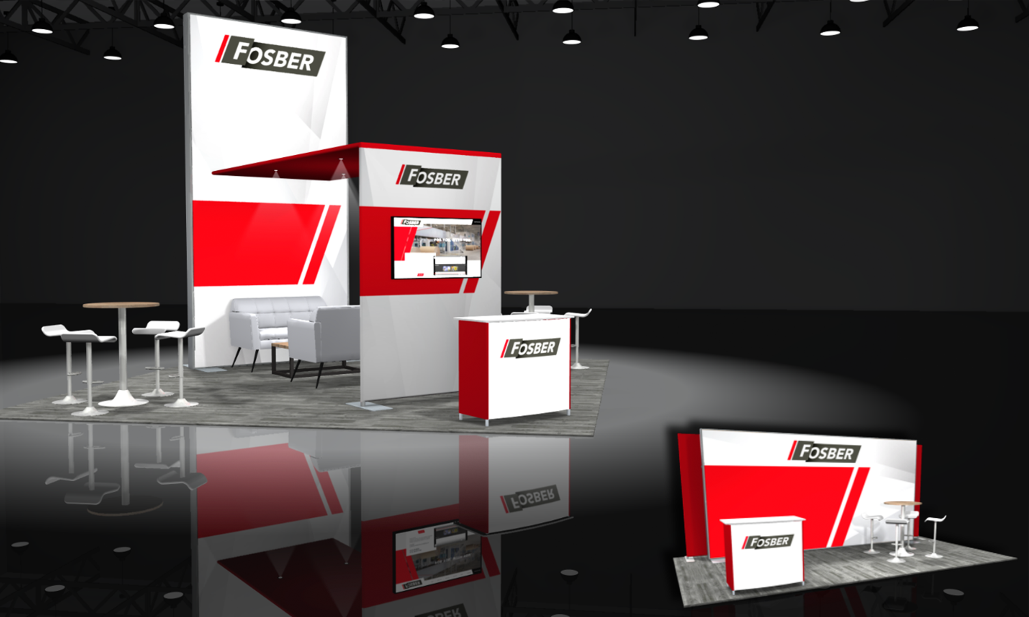 modular 20x20 trade show displays and 10x20 inline booth