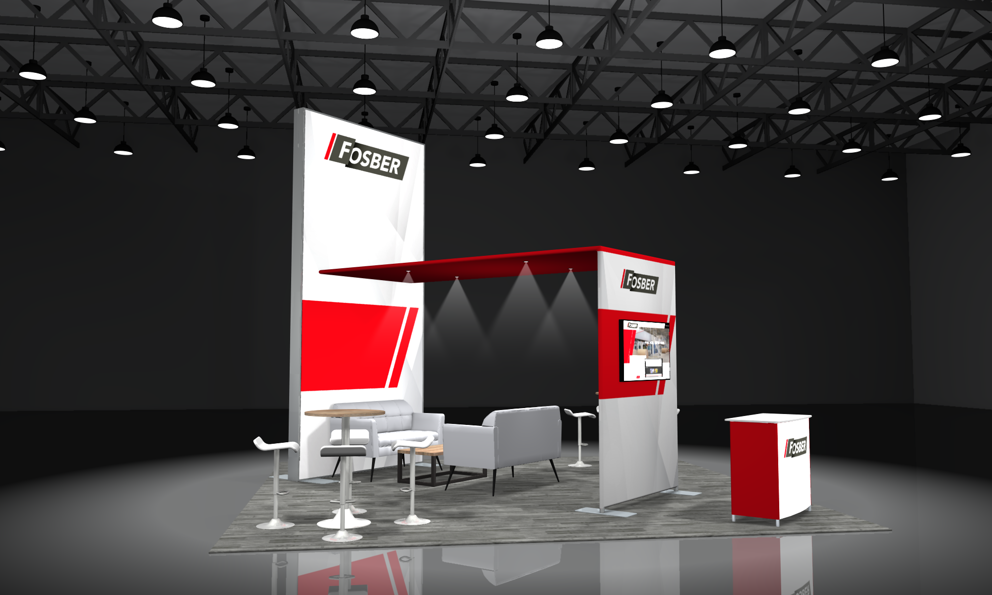 modular 20x20 booth converts to 10x20 trade show display