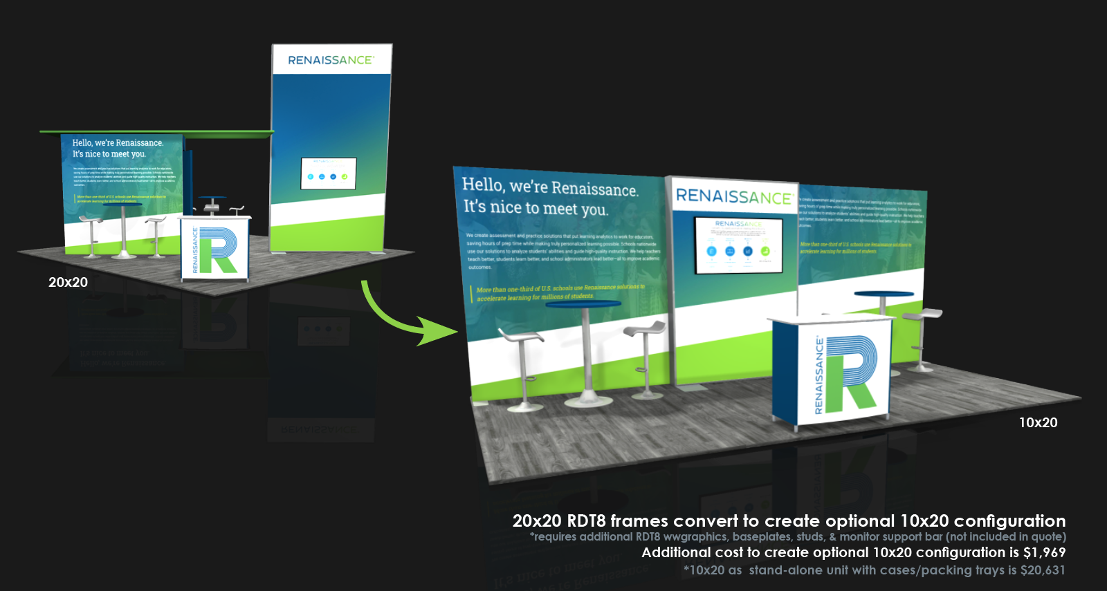 20x20 modular tool-less trade show display converts to 10x20