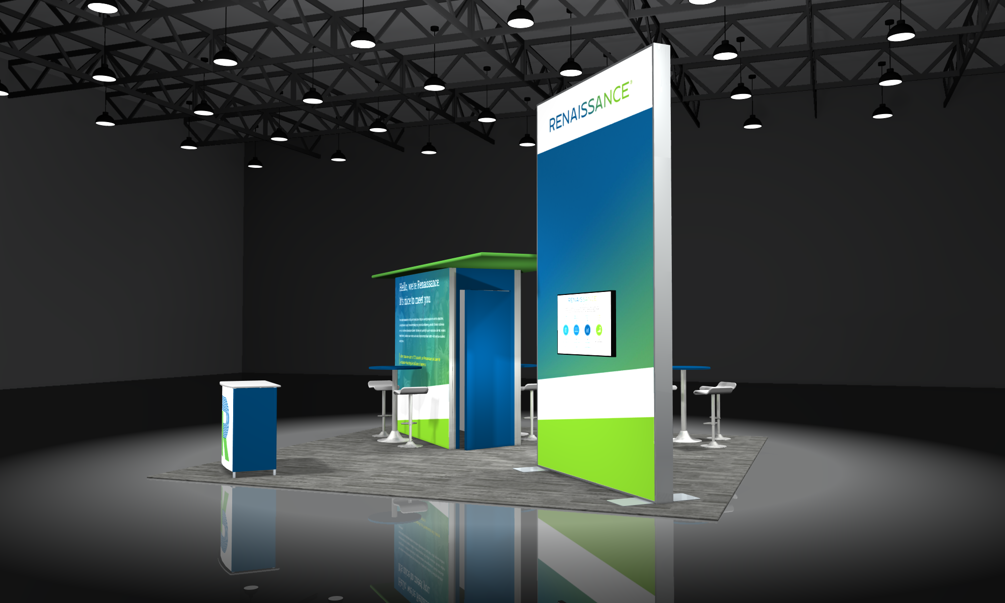 20x20 tool-less free standing trade show display