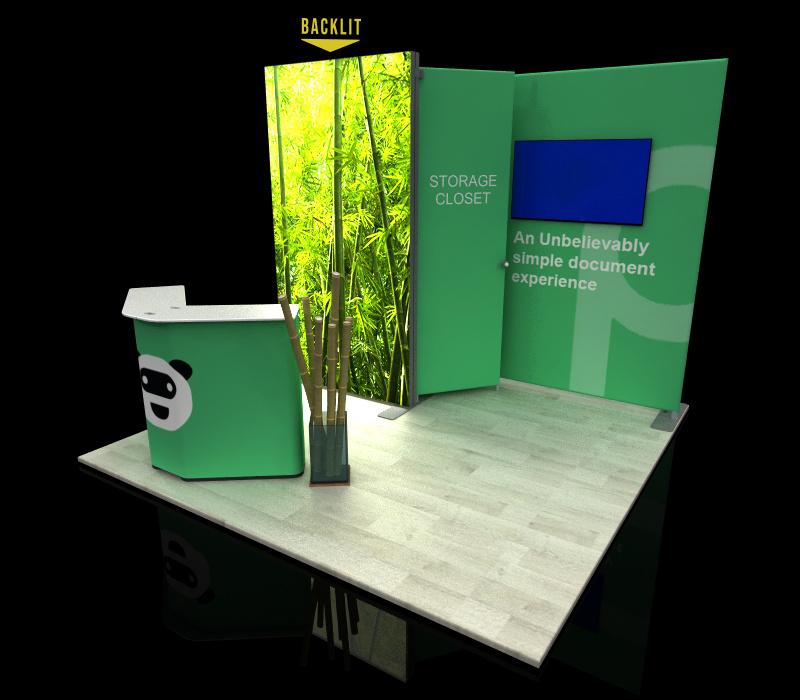 portable 10x10 backlit display w/ storage closet