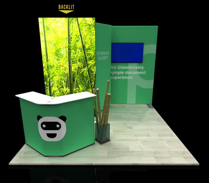 portable 10x10 backlit booth w/ storage closet
