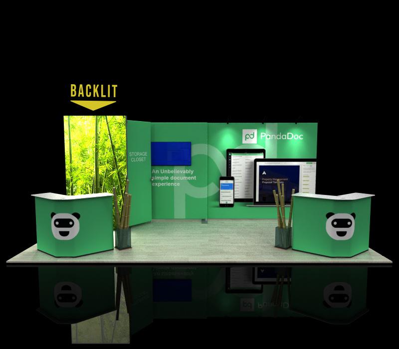 portable 10x20 backlit trade show exhibit w/ storage closet