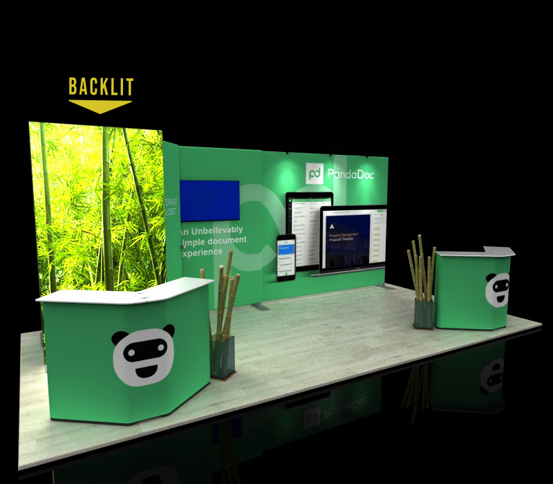 portable 10x20 backlit trade show booth w/ storage closet