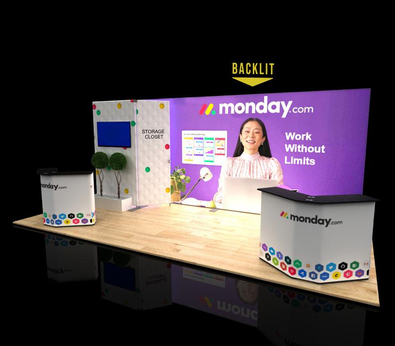 portable 10x20 backlit display storage closet