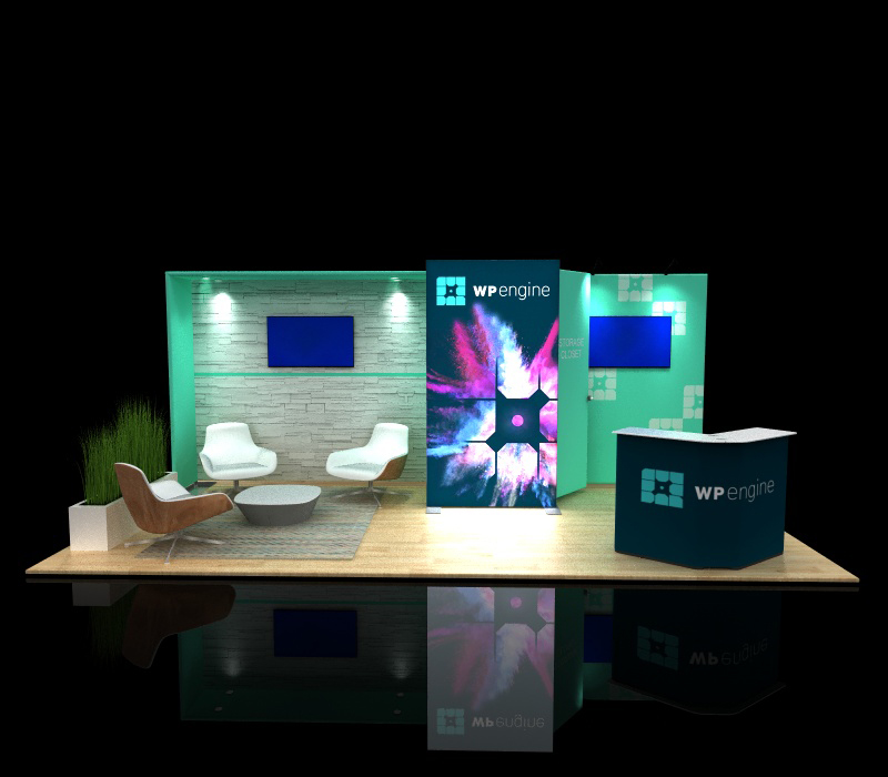 portable 10x20 backlit modular display with lounge seating area & storage closet