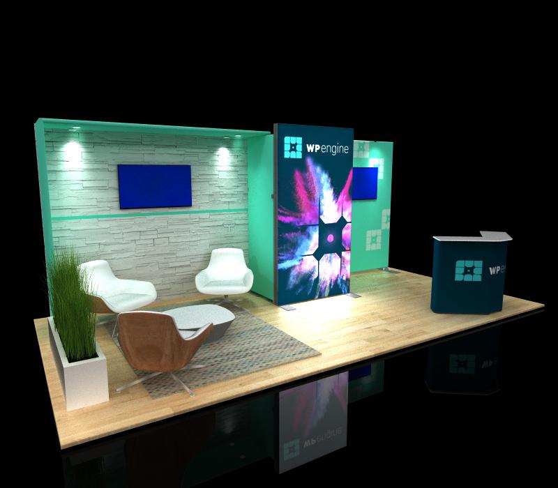 portable 10x20 backlit modular display with lounge seating area